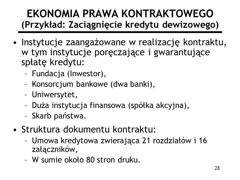 28 EKONOMIA PRAWA KONTRAKTOWEGO (Przykład: Zaciągnięcie kredytu dewizowego) Instytucje zaangażowane w realizację kontraktu, w tym instytucje poręczają