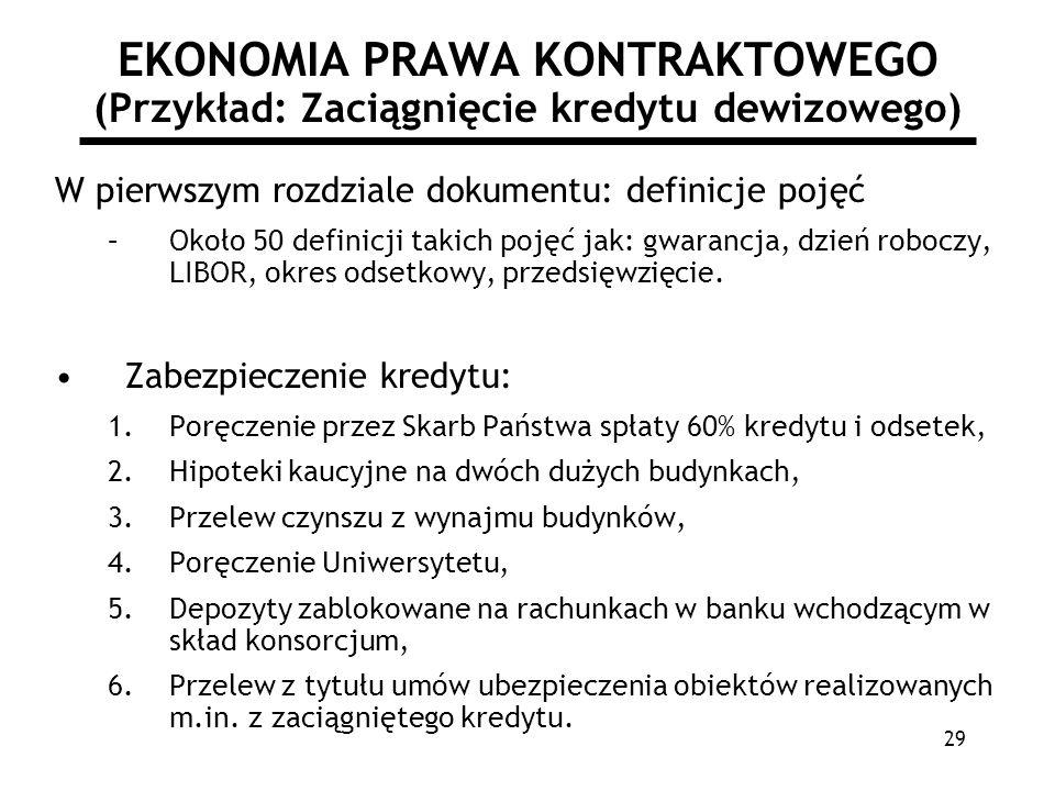 29 EKONOMIA PRAWA KONTRAKTOWEGO (Przykład: Zaciągnięcie kredytu dewizowego) W pierwszym rozdziale dokumentu: definicje pojęć –Około 50 definicji takic