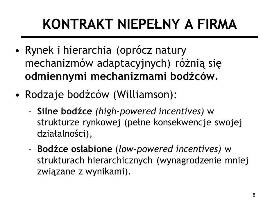 8 KONTRAKT NIEPEŁNY A FIRMA Rynek i hierarchia (oprócz natury mechanizmów adaptacyjnych) różnią się odmiennymi mechanizmami bodźców. Rodzaje bodźców (