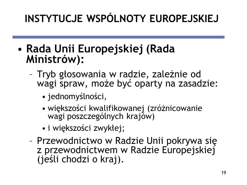 19 INSTYTUCJE WSPÓLNOTY EUROPEJSKIEJ Rada Unii Europejskiej (Rada Ministrów): –Tryb głosowania w radzie, zależnie od wagi spraw, może być oparty na za