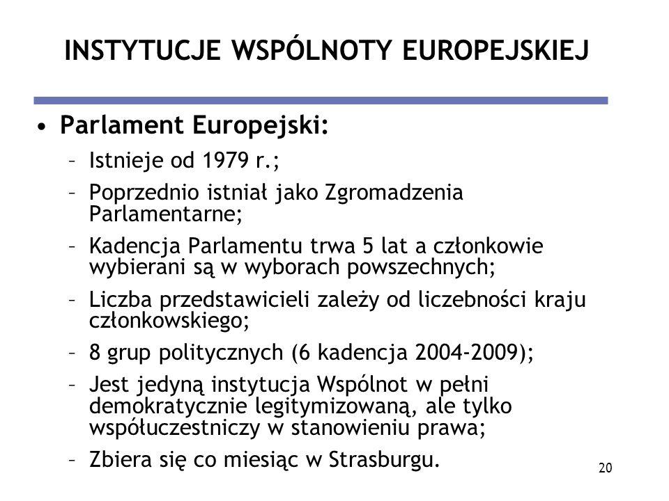 20 INSTYTUCJE WSPÓLNOTY EUROPEJSKIEJ Parlament Europejski: –Istnieje od 1979 r.; –Poprzednio istniał jako Zgromadzenia Parlamentarne; –Kadencja Parlam