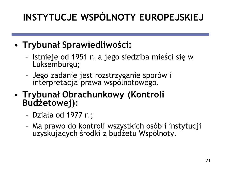 21 INSTYTUCJE WSPÓLNOTY EUROPEJSKIEJ Trybunał Sprawiedliwości: –Istnieje od 1951 r. a jego siedziba mieści się w Luksemburgu; –Jego zadanie jest rozst