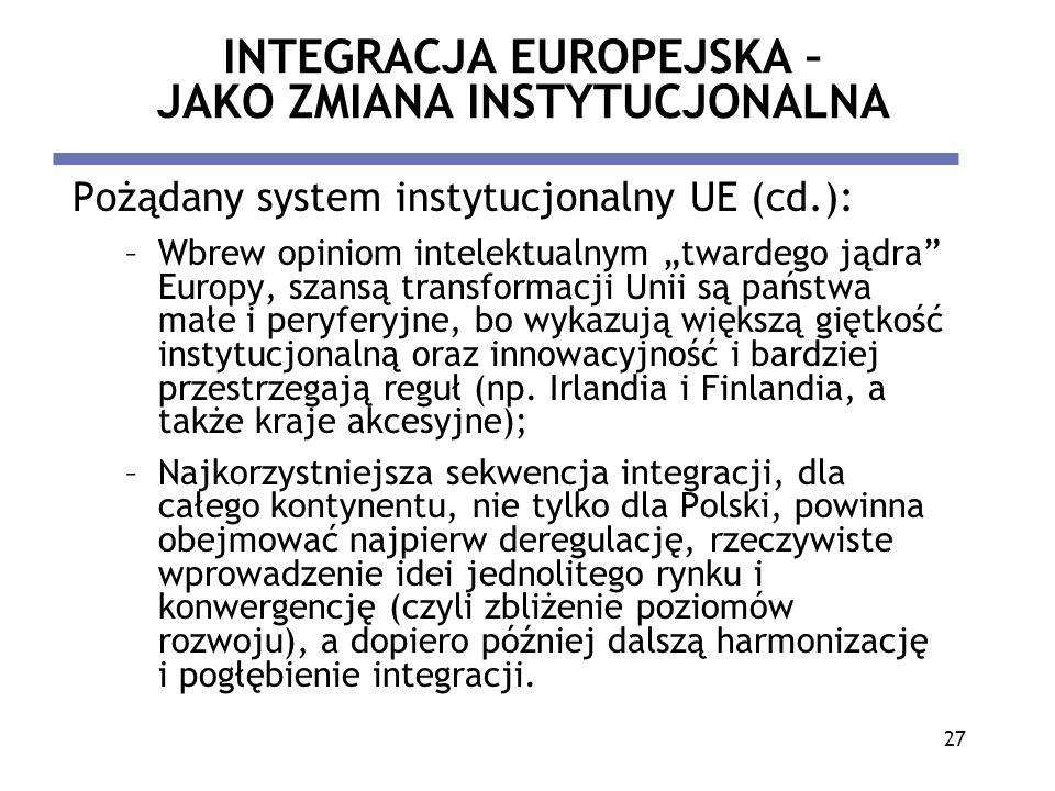 27 INTEGRACJA EUROPEJSKA – JAKO ZMIANA INSTYTUCJONALNA Pożądany system instytucjonalny UE (cd.): –Wbrew opiniom intelektualnym twardego jądra Europy,