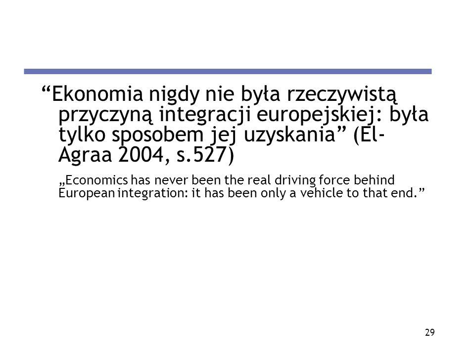 29 Ekonomia nigdy nie była rzeczywistą przyczyną integracji europejskiej: była tylko sposobem jej uzyskania (El- Agraa 2004, s.527) Economics has neve