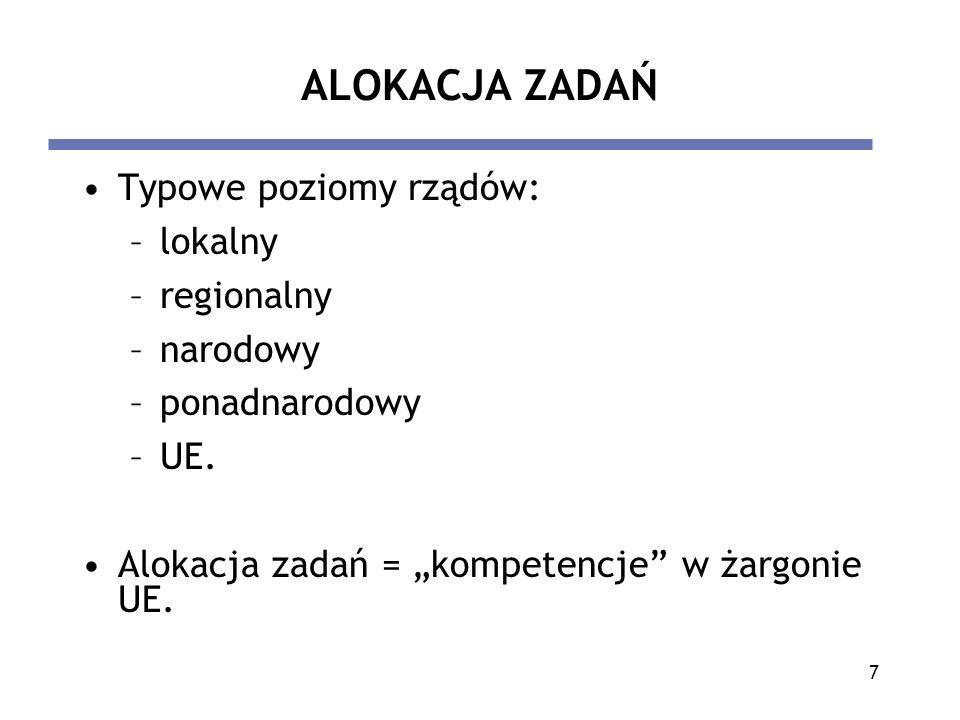 7 ALOKACJA ZADAŃ Typowe poziomy rządów: –lokalny –regionalny –narodowy –ponadnarodowy –UE. Alokacja zadań = kompetencje w żargonie UE.