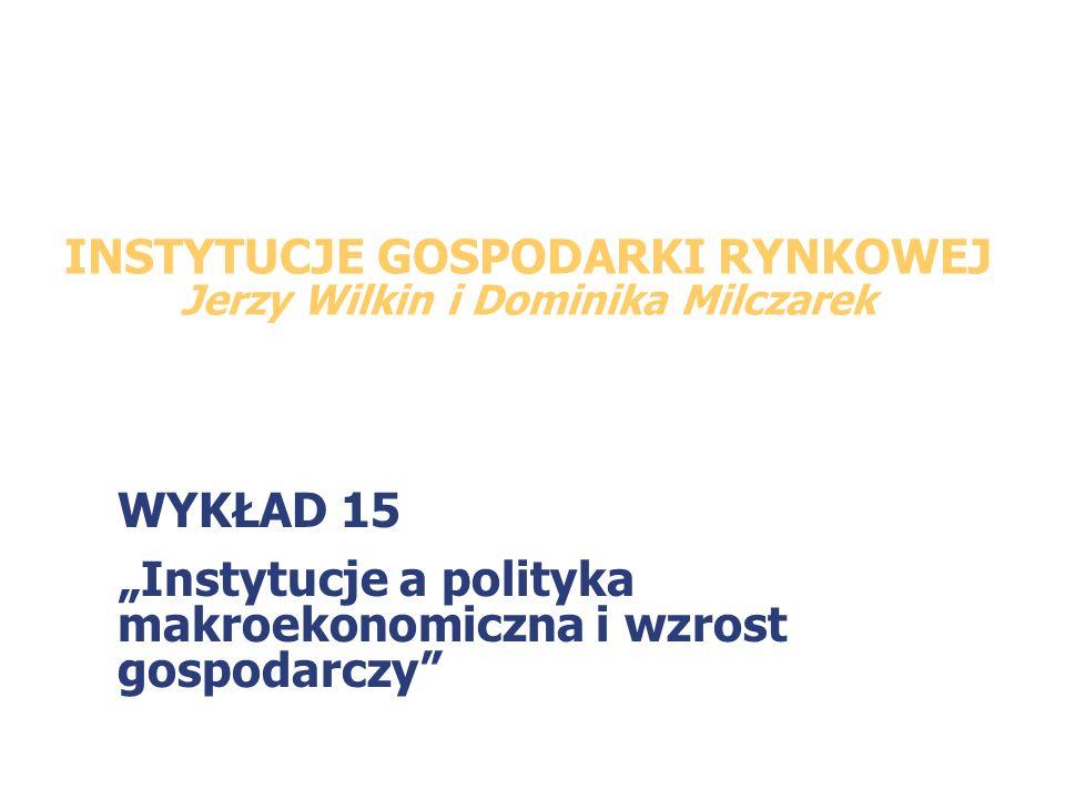 INSTYTUCJE GOSPODARKI RYNKOWEJ Jerzy Wilkin i Dominika Milczarek WYKŁAD 15 Instytucje a polityka makroekonomiczna i wzrost gospodarczy