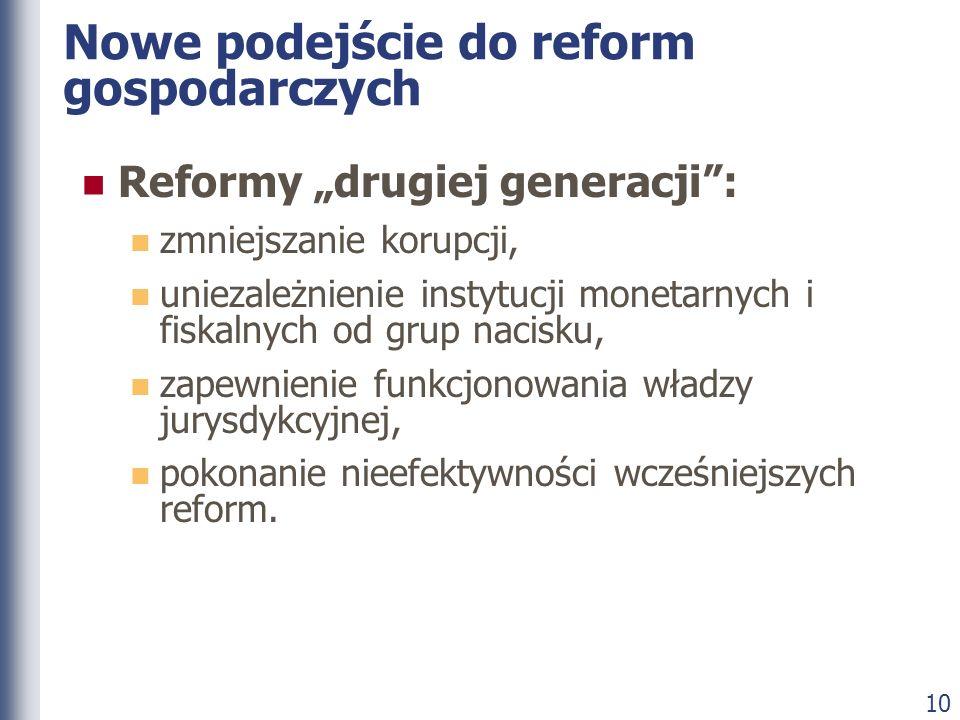 10 Nowe podejście do reform gospodarczych Reformy drugiej generacji: zmniejszanie korupcji, uniezależnienie instytucji monetarnych i fiskalnych od gru