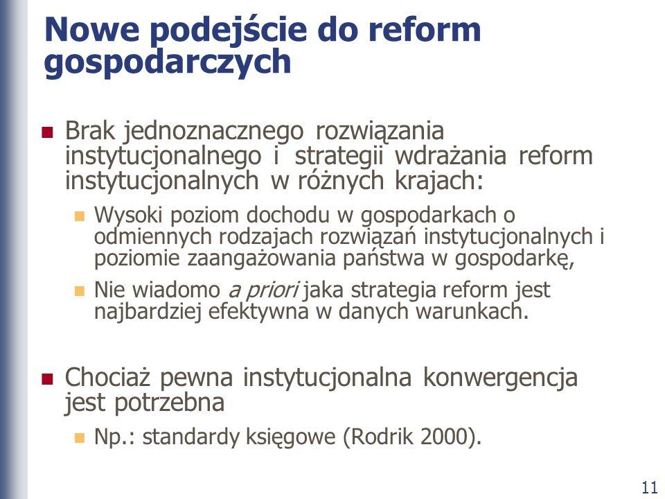 11 Nowe podejście do reform gospodarczych Brak jednoznacznego rozwiązania instytucjonalnego i strategii wdrażania reform instytucjonalnych w różnych k