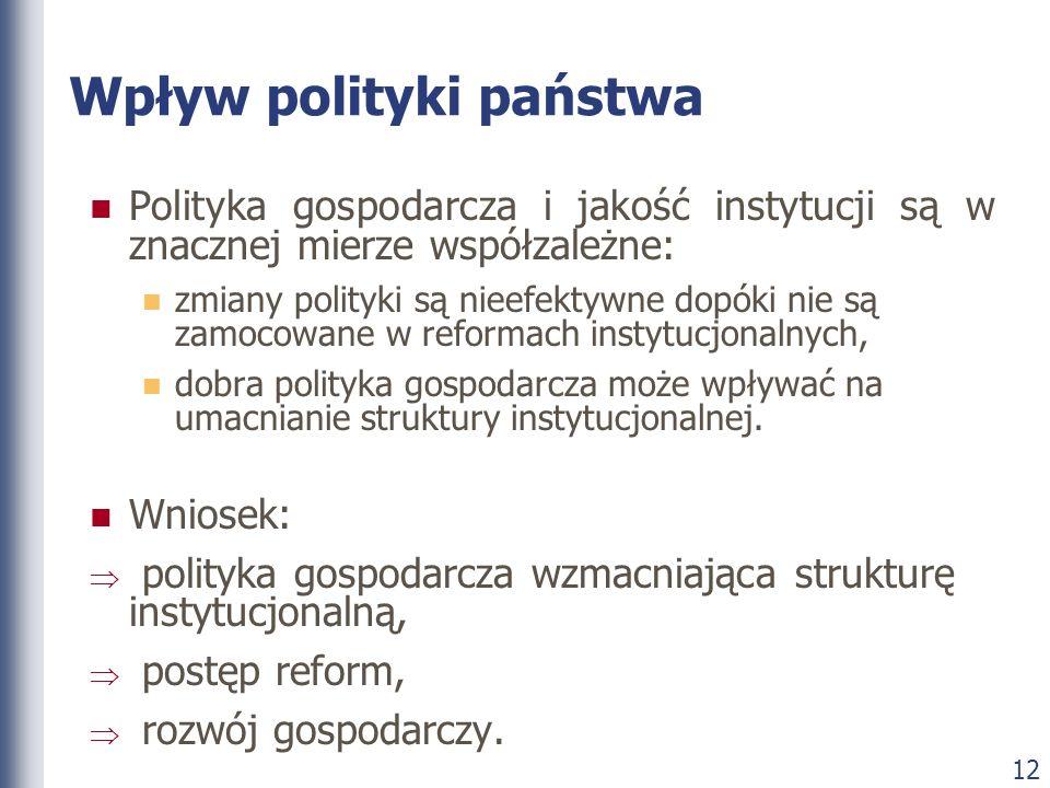 12 Wpływ polityki państwa Polityka gospodarcza i jakość instytucji są w znacznej mierze współzależne: zmiany polityki są nieefektywne dopóki nie są za