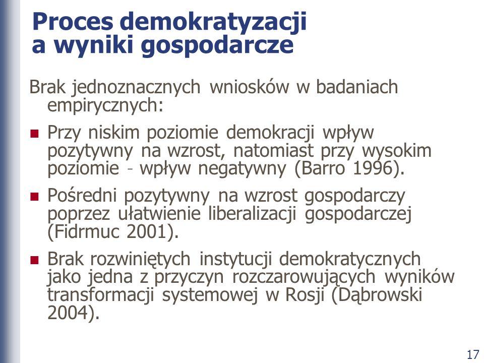 17 Proces demokratyzacji a wyniki gospodarcze Brak jednoznacznych wniosków w badaniach empirycznych: Przy niskim poziomie demokracji wpływ pozytywny n