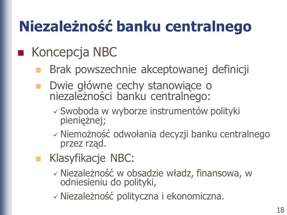 18 Niezależność banku centralnego Koncepcja NBC Brak powszechnie akceptowanej definicji Dwie główne cechy stanowiące o niezależności banku centralnego