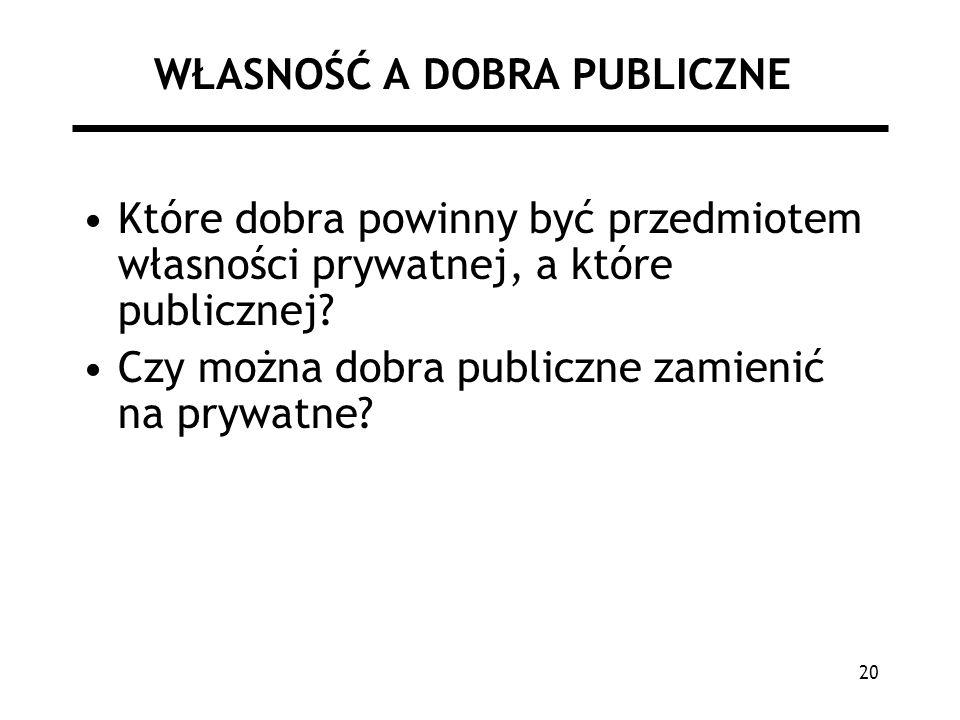 20 WŁASNOŚĆ A DOBRA PUBLICZNE Które dobra powinny być przedmiotem własności prywatnej, a które publicznej? Czy można dobra publiczne zamienić na prywa