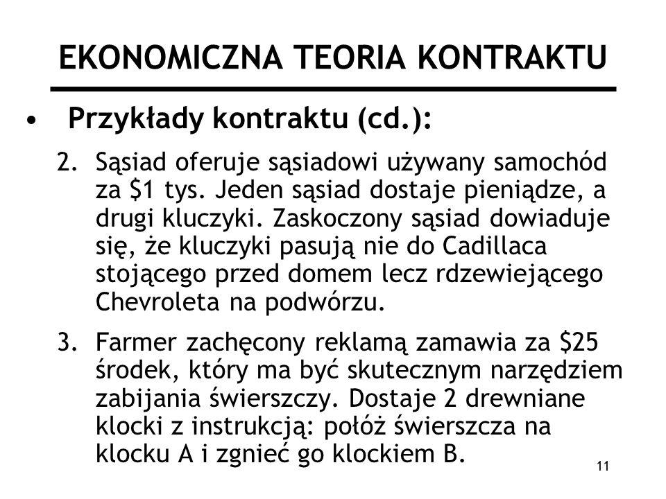 11 EKONOMICZNA TEORIA KONTRAKTU Przykłady kontraktu (cd.): 2.Sąsiad oferuje sąsiadowi używany samochód za $1 tys.