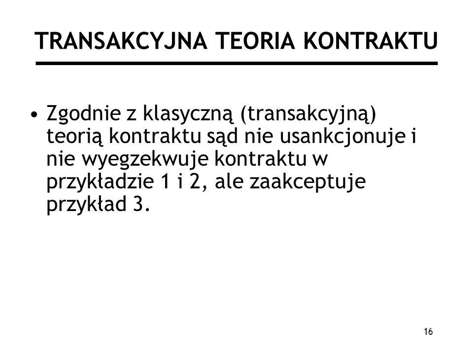 16 TRANSAKCYJNA TEORIA KONTRAKTU Zgodnie z klasyczną (transakcyjną) teorią kontraktu sąd nie usankcjonuje i nie wyegzekwuje kontraktu w przykładzie 1 i 2, ale zaakceptuje przykład 3.