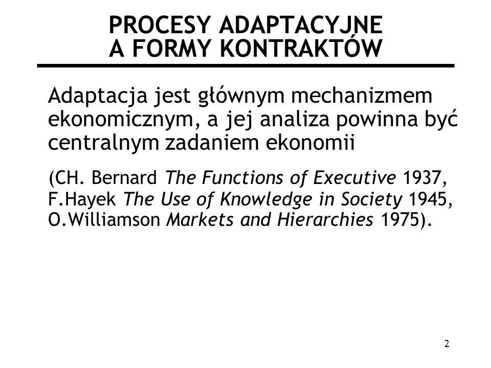 2 PROCESY ADAPTACYJNE A FORMY KONTRAKTÓW Adaptacja jest głównym mechanizmem ekonomicznym, a jej analiza powinna być centralnym zadaniem ekonomii (CH.