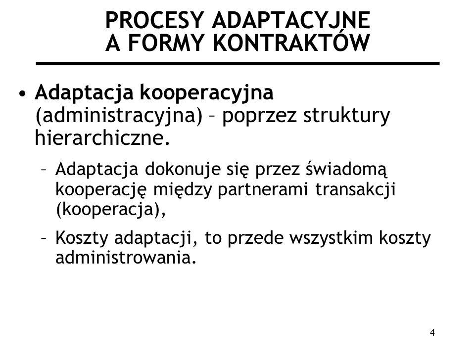 4 PROCESY ADAPTACYJNE A FORMY KONTRAKTÓW Adaptacja kooperacyjna (administracyjna) – poprzez struktury hierarchiczne. –Adaptacja dokonuje się przez świ