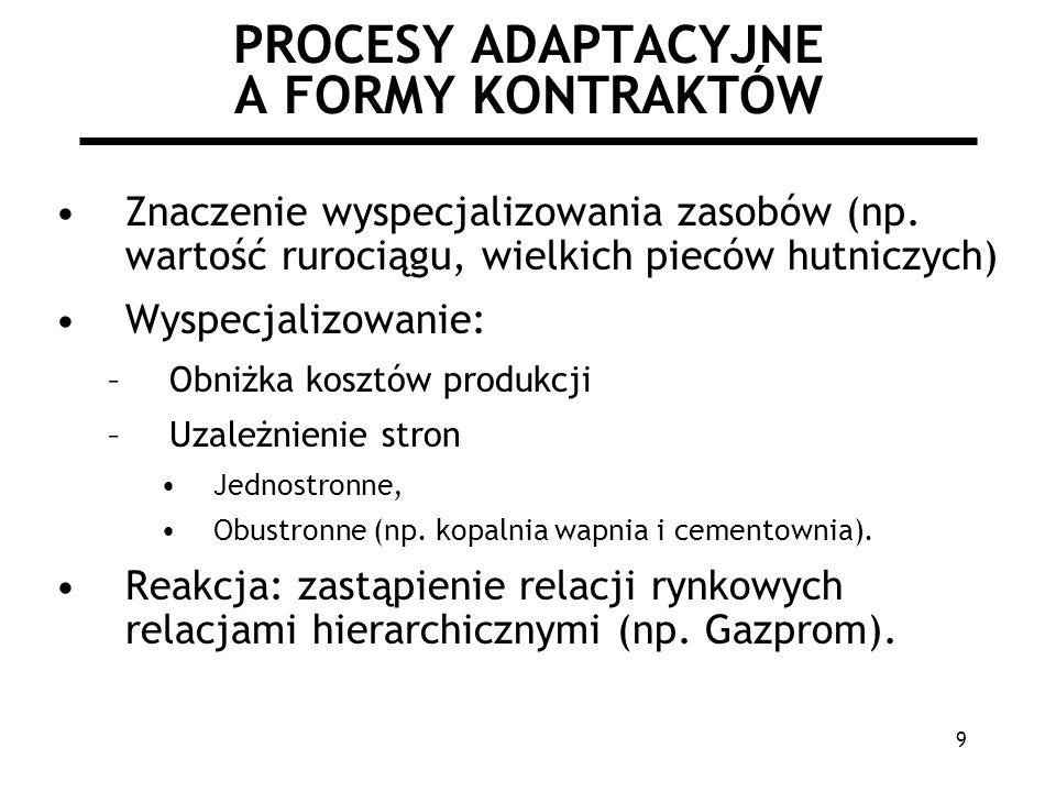 9 PROCESY ADAPTACYJNE A FORMY KONTRAKTÓW Znaczenie wyspecjalizowania zasobów (np.
