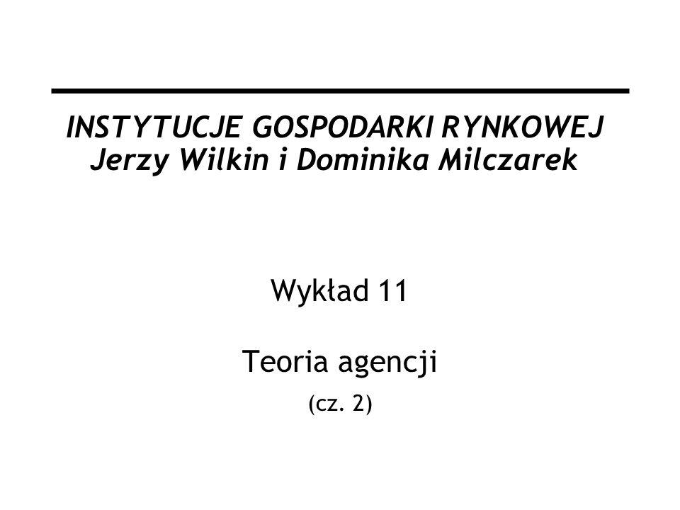 INSTYTUCJE GOSPODARKI RYNKOWEJ Jerzy Wilkin i Dominika Milczarek Wykład 11 Teoria agencji (cz. 2)