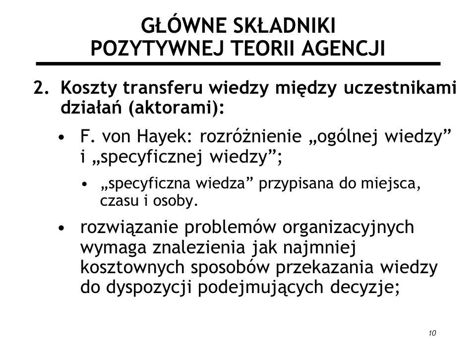 10 GŁÓWNE SKŁADNIKI POZYTYWNEJ TEORII AGENCJI 2.Koszty transferu wiedzy między uczestnikami działań (aktorami): F. von Hayek: rozróżnienie ogólnej wie