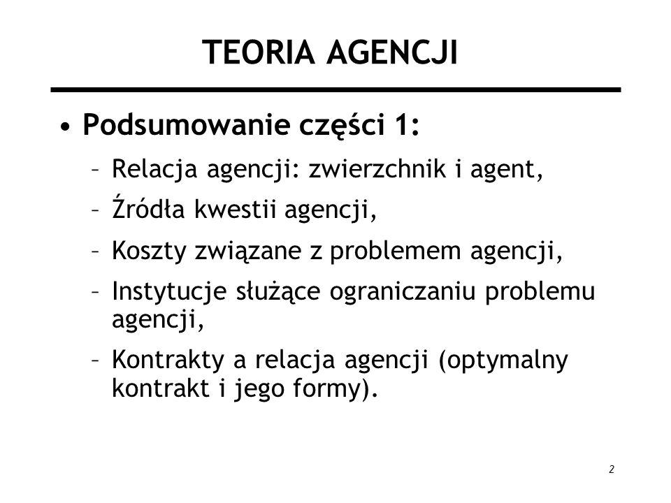 2 TEORIA AGENCJI Podsumowanie części 1: –Relacja agencji: zwierzchnik i agent, –Źródła kwestii agencji, –Koszty związane z problemem agencji, –Instytu