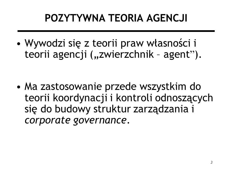 3 POZYTYWNA TEORIA AGENCJI Wywodzi się z teorii praw własności i teorii agencji (zwierzchnik – agent ). Ma zastosowanie przede wszystkim do teorii koo