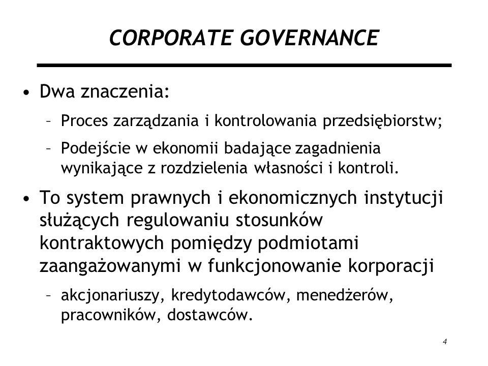 4 CORPORATE GOVERNANCE Dwa znaczenia: –Proces zarządzania i kontrolowania przedsiębiorstw; –Podejście w ekonomii badające zagadnienia wynikające z roz