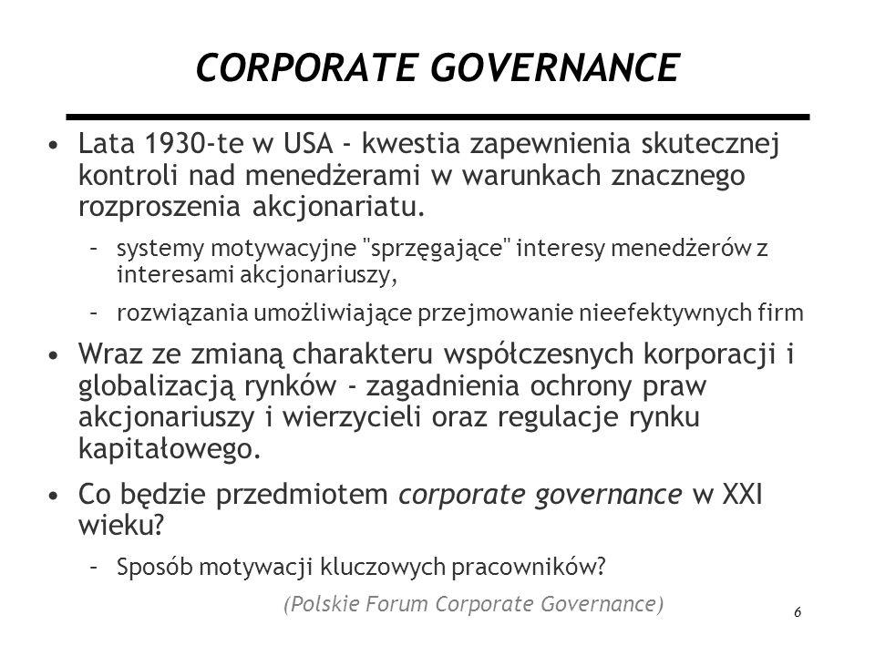 6 CORPORATE GOVERNANCE Lata 1930-te w USA - kwestia zapewnienia skutecznej kontroli nad menedżerami w warunkach znacznego rozproszenia akcjonariatu. –