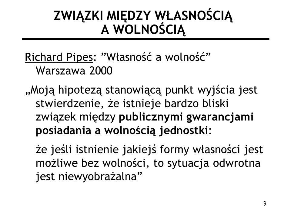 9 ZWIĄZKI MIĘDZY WŁASNOŚCIĄ A WOLNOŚCIĄ Richard Pipes: Własność a wolność Warszawa 2000 Moją hipotezą stanowiącą punkt wyjścia jest stwierdzenie, że istnieje bardzo bliski związek między publicznymi gwarancjami posiadania a wolnością jednostki: że jeśli istnienie jakiejś formy własności jest możliwe bez wolności, to sytuacja odwrotna jest niewyobrażalna
