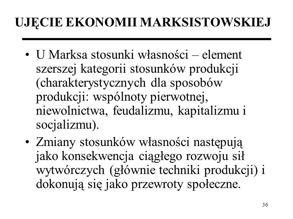36 UJĘCIE EKONOMII MARKSISTOWSKIEJ U Marksa stosunki własności – element szerszej kategorii stosunków produkcji (charakterystycznych dla sposobów prod