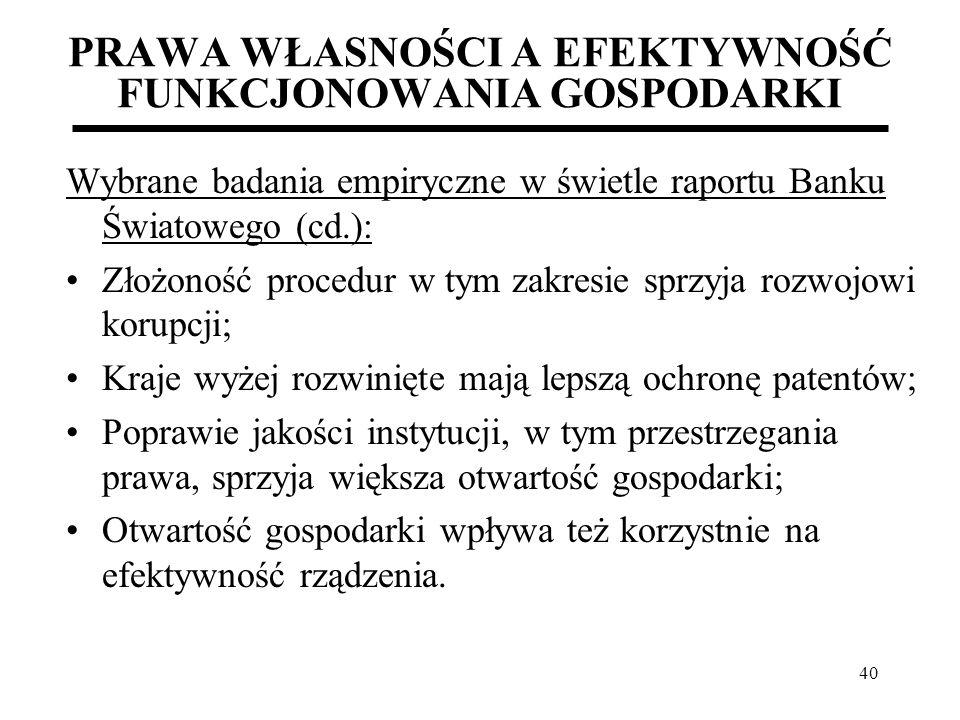 40 PRAWA WŁASNOŚCI A EFEKTYWNOŚĆ FUNKCJONOWANIA GOSPODARKI Wybrane badania empiryczne w świetle raportu Banku Światowego (cd.): Złożoność procedur w t