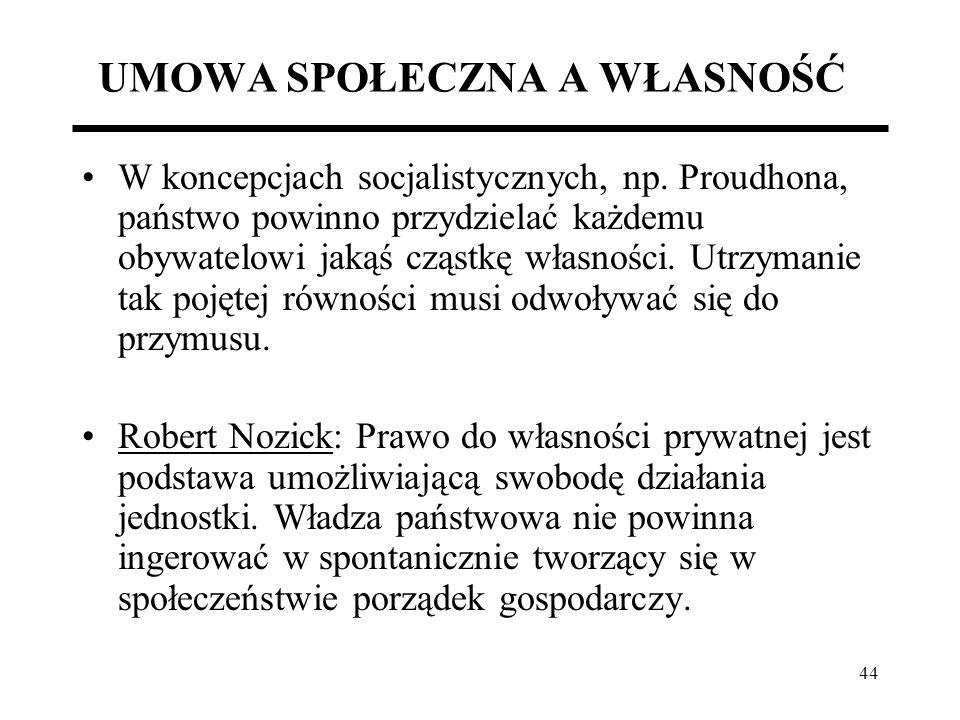 44 UMOWA SPOŁECZNA A WŁASNOŚĆ W koncepcjach socjalistycznych, np. Proudhona, państwo powinno przydzielać każdemu obywatelowi jakąś cząstkę własności.