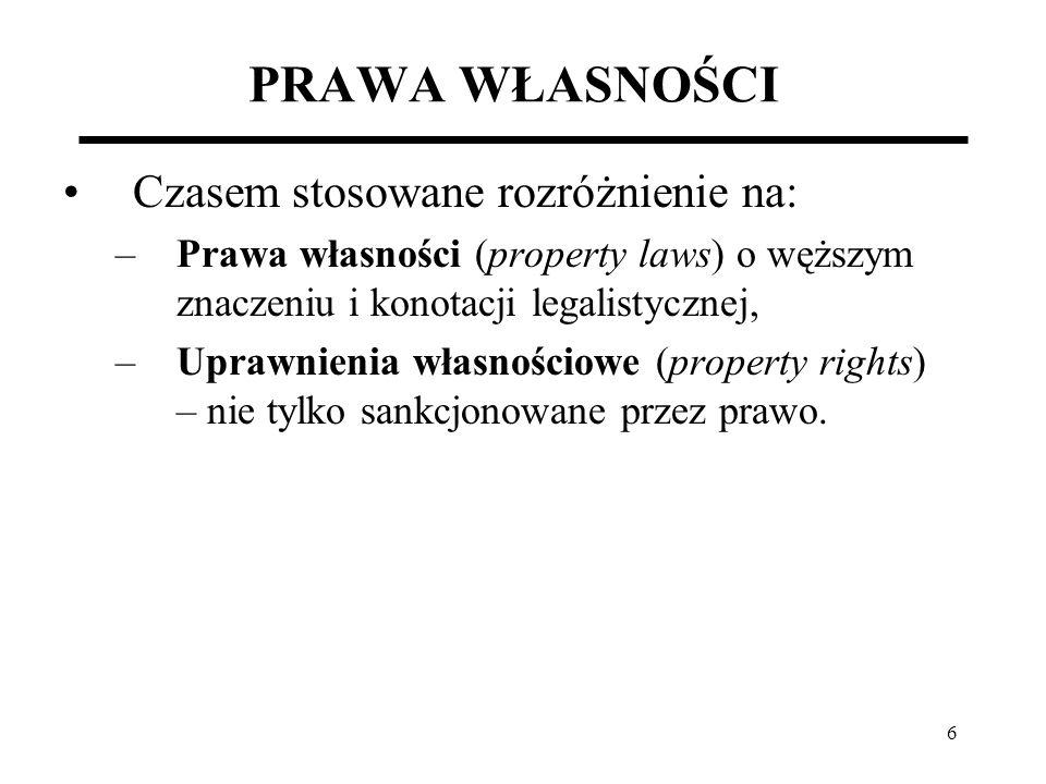47 UMOWA SPOŁECZNA A WŁASNOŚĆ W wyniku umowy społecznej jednostki konstruują prawa na wzór praw naturalnych.