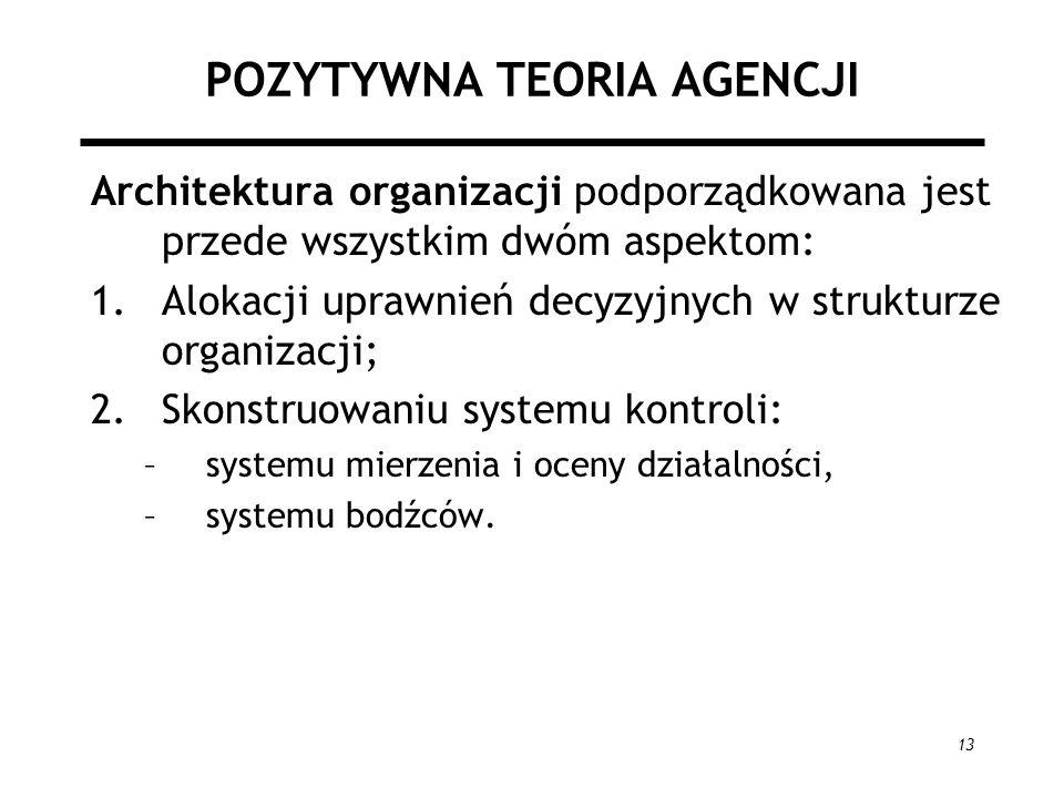 13 POZYTYWNA TEORIA AGENCJI Architektura organizacji podporządkowana jest przede wszystkim dwóm aspektom: 1.Alokacji uprawnień decyzyjnych w strukturze organizacji; 2.Skonstruowaniu systemu kontroli: –systemu mierzenia i oceny działalności, –systemu bodźców.