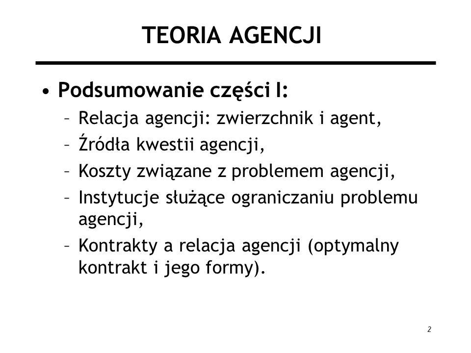 2 TEORIA AGENCJI Podsumowanie części I: –Relacja agencji: zwierzchnik i agent, –Źródła kwestii agencji, –Koszty związane z problemem agencji, –Instytucje służące ograniczaniu problemu agencji, –Kontrakty a relacja agencji (optymalny kontrakt i jego formy).