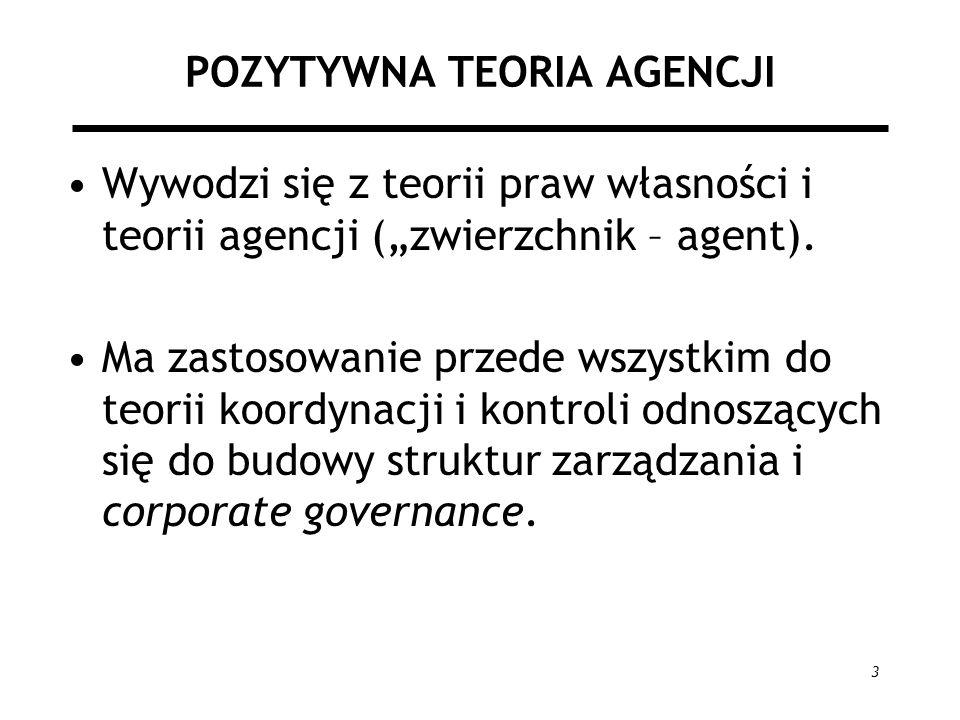 3 POZYTYWNA TEORIA AGENCJI Wywodzi się z teorii praw własności i teorii agencji (zwierzchnik – agent). Ma zastosowanie przede wszystkim do teorii koor