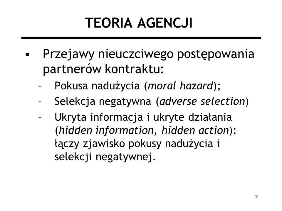 10 TEORIA AGENCJI Przejawy nieuczciwego postępowania partnerów kontraktu: –Pokusa nadużycia (moral hazard); –Selekcja negatywna (adverse selection) –U