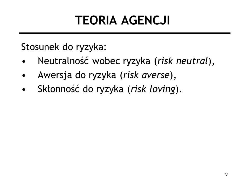 17 TEORIA AGENCJI Stosunek do ryzyka: Neutralność wobec ryzyka (risk neutral), Awersja do ryzyka (risk averse), Skłonność do ryzyka (risk loving).
