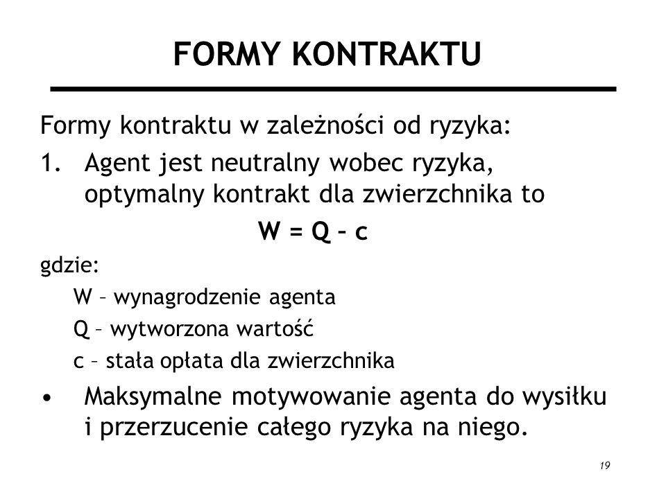 19 FORMY KONTRAKTU Formy kontraktu w zależności od ryzyka: 1.Agent jest neutralny wobec ryzyka, optymalny kontrakt dla zwierzchnika to W = Q – c gdzie