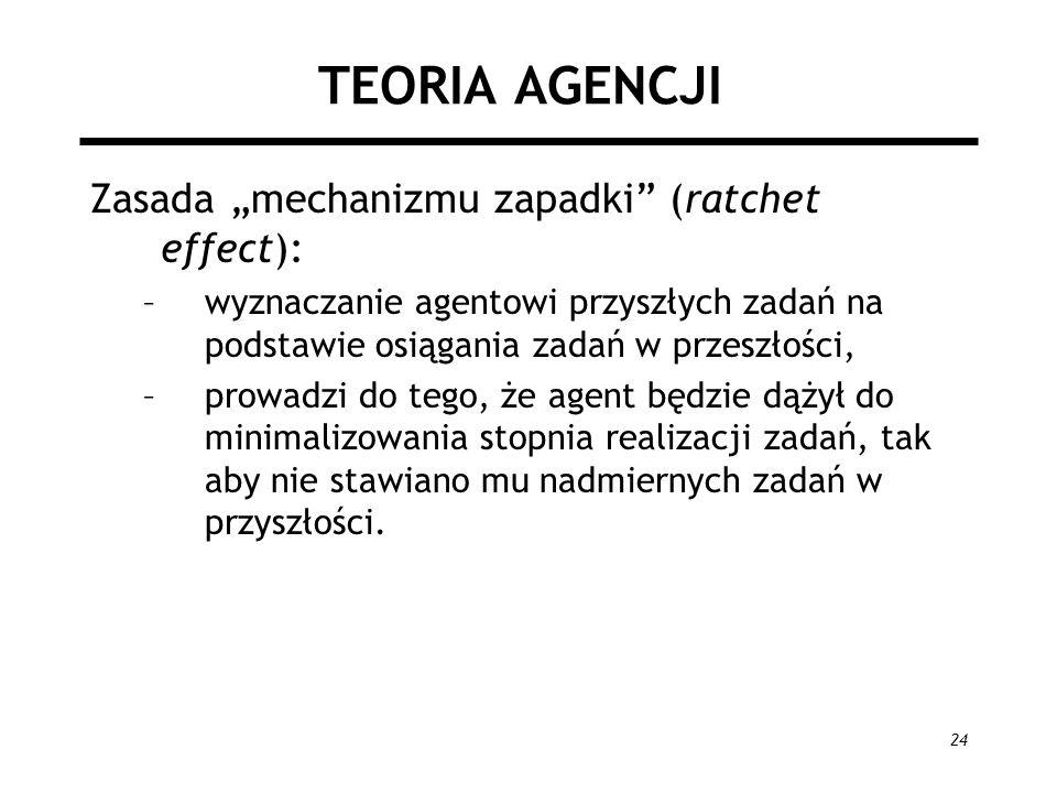 24 TEORIA AGENCJI Zasada mechanizmu zapadki (ratchet effect): –wyznaczanie agentowi przyszłych zadań na podstawie osiągania zadań w przeszłości, –prow