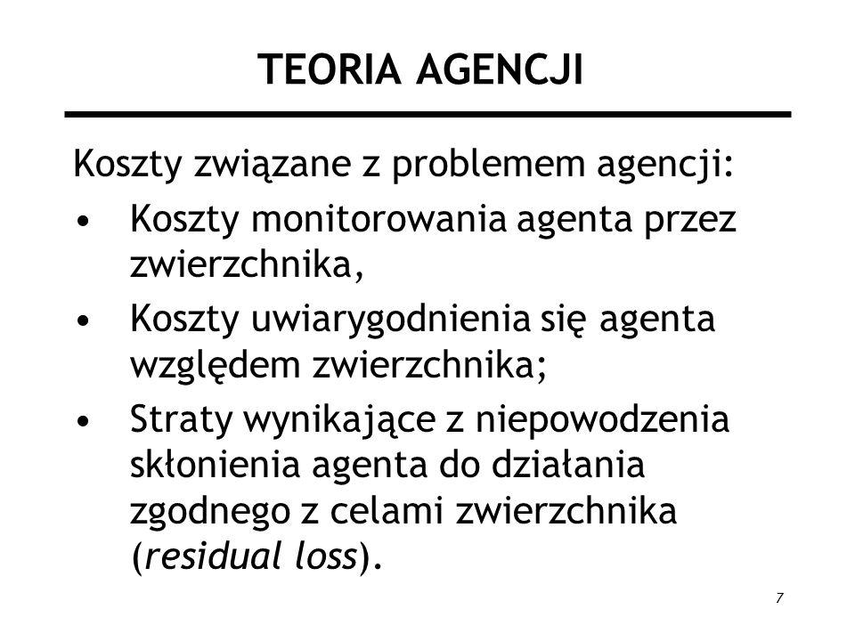 8 TEORIA AGENCJI Instytucje służące ograniczaniu agencji (strat): –Instytucje monitoringu; –Dobór form własności; –Auditing (formalna kontrola finansowo- księgowa); –Dobór odpowiedniej struktury kontraktu.