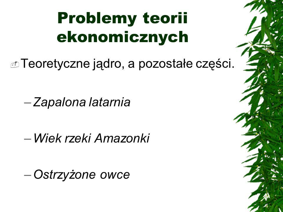 Problemy teorii ekonomicznych Teoretyczne jądro, a pozostałe części. –Zapalona latarnia –Wiek rzeki Amazonki –Ostrzyżone owce