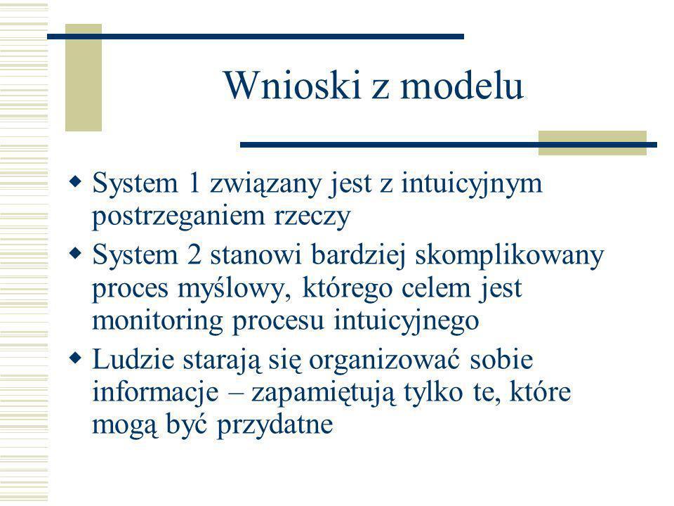 Wnioski z modelu System 1 związany jest z intuicyjnym postrzeganiem rzeczy System 2 stanowi bardziej skomplikowany proces myślowy, którego celem jest