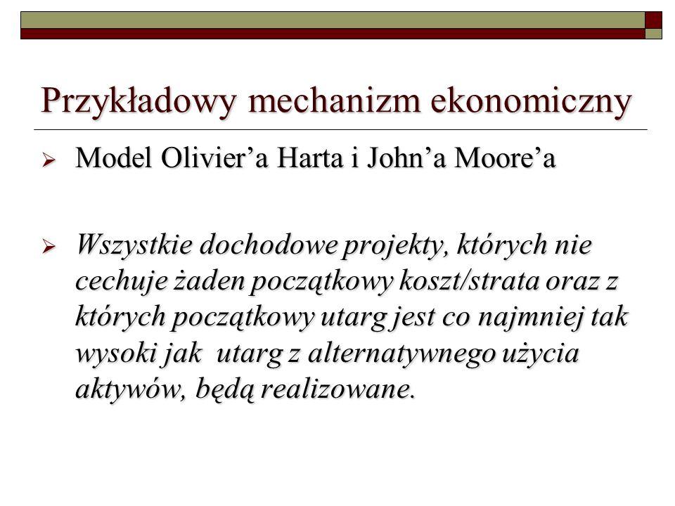 Przykładowy mechanizm ekonomiczny Model Oliviera Harta i Johna Moorea Model Oliviera Harta i Johna Moorea Wszystkie dochodowe projekty, których nie cechuje żaden początkowy koszt/strata oraz z których początkowy utarg jest co najmniej tak wysoki jak utarg z alternatywnego użycia aktywów, będą realizowane.