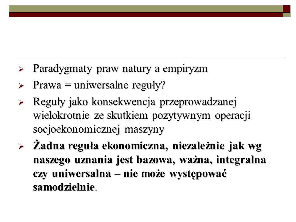Paradygmaty praw natury a empiryzm Paradygmaty praw natury a empiryzm Prawa = uniwersalne reguły.