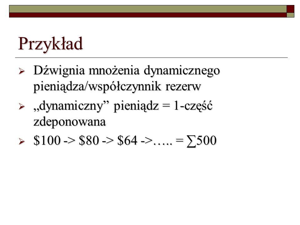 Przykład Dźwignia mnożenia dynamicznego pieniądza/współczynnik rezerw Dźwignia mnożenia dynamicznego pieniądza/współczynnik rezerw dynamiczny pieniądz = 1-część zdeponowana dynamiczny pieniądz = 1-część zdeponowana $100 -> $80 -> $64 ->…..