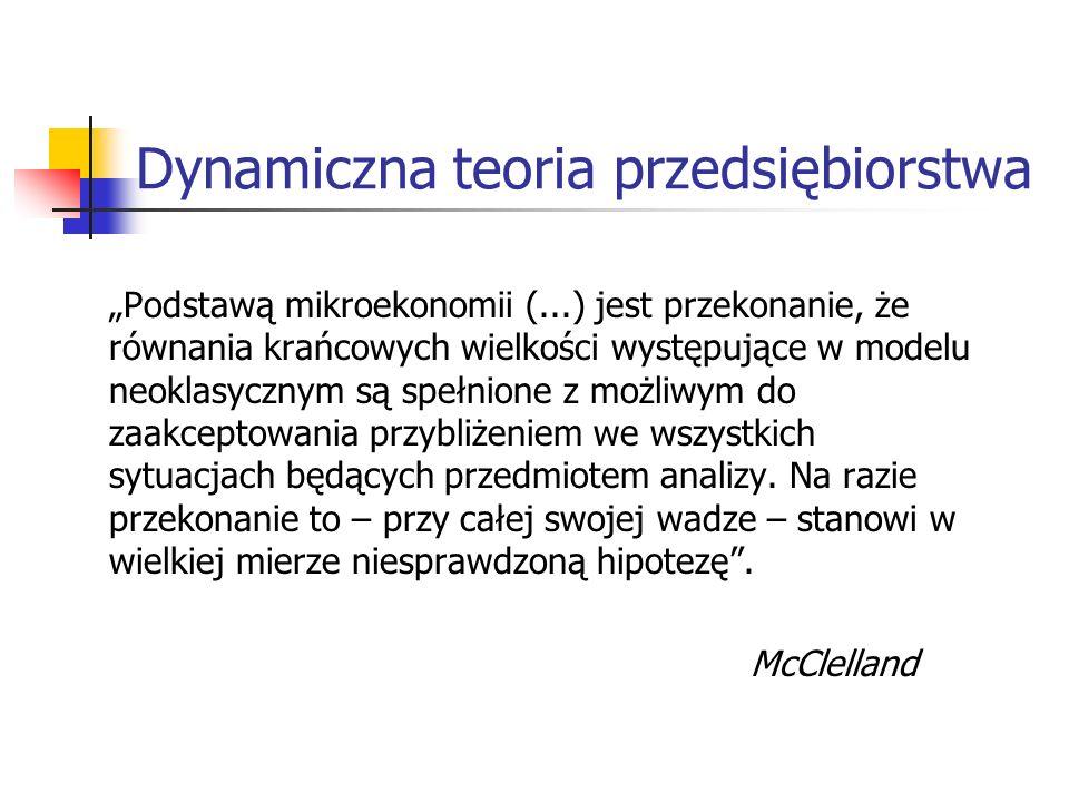 Dynamiczna teoria przedsiębiorstwa Podstawą mikroekonomii (...) jest przekonanie, że równania krańcowych wielkości występujące w modelu neoklasycznym