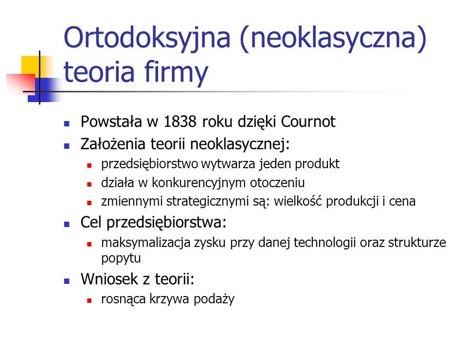 Ortodoksyjna (neoklasyczna) teoria firmy Powstała w 1838 roku dzięki Cournot Założenia teorii neoklasycznej: przedsiębiorstwo wytwarza jeden produkt d
