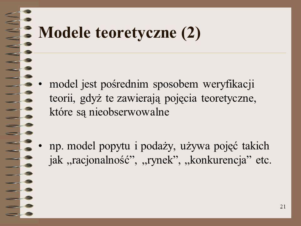 21 Modele teoretyczne (2) model jest pośrednim sposobem weryfikacji teorii, gdyż te zawierają pojęcia teoretyczne, które są nieobserwowalne np.