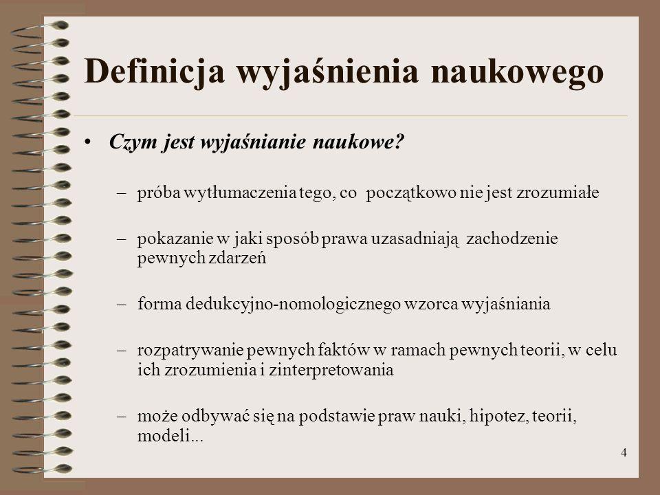 15 Hipotezy (2) Przykład Hipoteza: Jedyną przyczyną braku lekarzy są niskie oczekiwane płace w ciągu całej kariery zawodowej (H) Obserwacja: Jeśli tempo wzrostu płac będzie coraz szybsze, to podaż lekarzy wzrośnie (I)