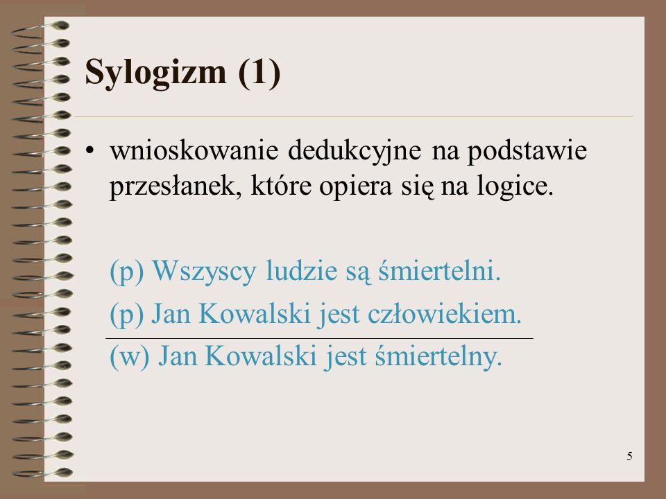 5 Sylogizm (1) wnioskowanie dedukcyjne na podstawie przesłanek, które opiera się na logice.